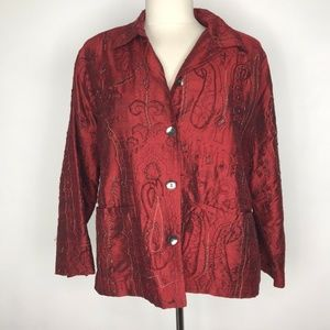 Chico's Red Silk Embroidered Beaded Jacket
